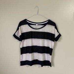 Black and White Stripped Aeropostale Top With Gold